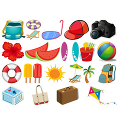 large set different summer objects on white vector image