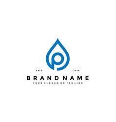 Letter p water drop logo design vector