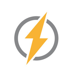 Lightning bolt with circle logo unique vector