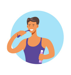 man brushing teeth with toothbrush and toothpaste vector image