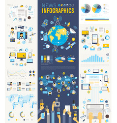 News infographic set with charts and other vector