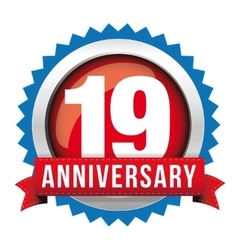 Nineteen years anniversary badge with red ribbon vector image