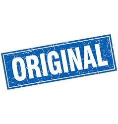 original blue square grunge stamp on white vector image
