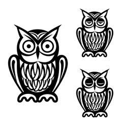 Owl simple icons set vector image