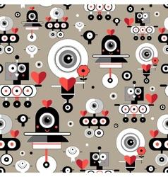 Pattern amusing lovers robots vector