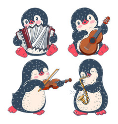 penguins with musical instruments vector image