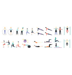 People doing health kinds fitness exercises vector