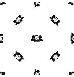 people group pattern seamless black vector image