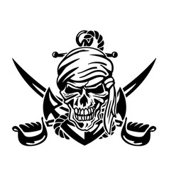 Pirate skull with anchor rope and crossed swords vector