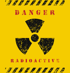 Radio active danger sign icon grunge text vector