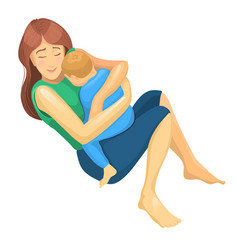 realistic sketch mother and son in her hug vector image