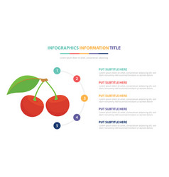red cherry infographic template concept with five vector image