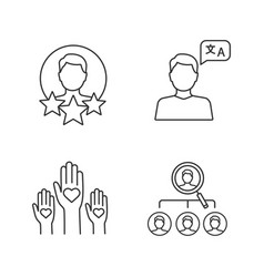Resume linear icons set vector