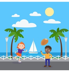 Roller Skating Girl Boy with Balloons Kids vector