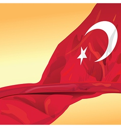 Rupublic of Turkey flag wave in the wind of win vector image