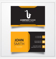 Saxophone icon business card template vector