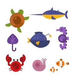 Sea animals marine life character vector