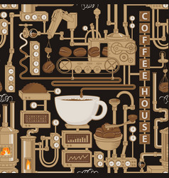 Seamless pattern with a conveyor coffee production vector