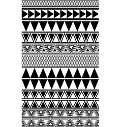 set of black and white geometric seamless borders vector image
