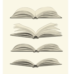 Set of vintage open books vector