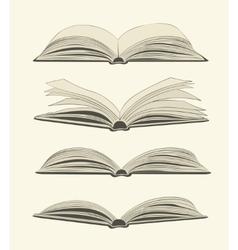 Set vintage open books vector