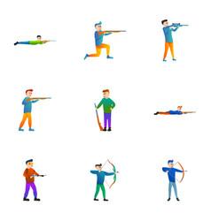 shooting man icon set cartoon style vector image