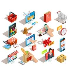 Shopping E-commerce Isometric Icons Set vector image