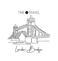 single one line drawing tower bridge landmark vector image