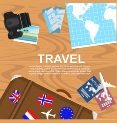 Travelers desktop top view vector