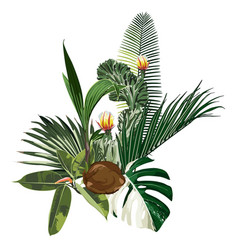 tropical palm and exotic leaves composition vector image