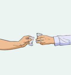 Two hands clinking shot glasses with alcohol vector