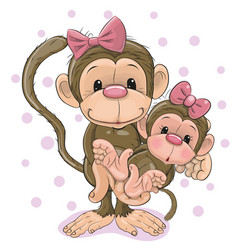 Two monkeys a mother and a baby daughter vector