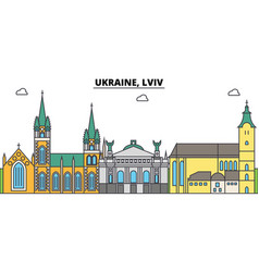 Ukraine lviv outline city skyline linear vector