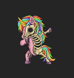 Unicorn zombie dabbing graphic vector
