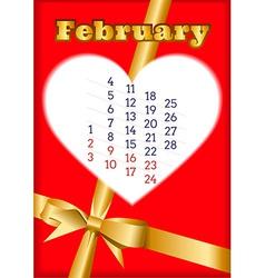 Valentine calendar for February 2013 vector