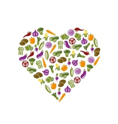 vegetable icons in heart vector image