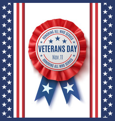 veterans day badge on abstract background vector image