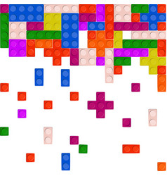 wall from plastic building blocks isolated on vector image