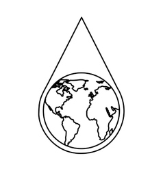 Water drop with earth planet vector