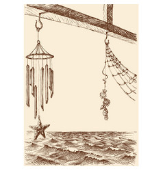 wind chimes on porch a beach house sea vector image