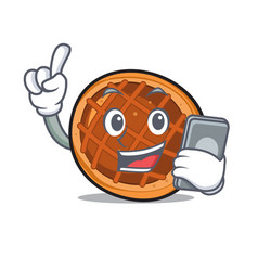 with phone baket pie character cartoon vector image