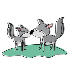 wolves couple over grass in watercolor silhouette vector image