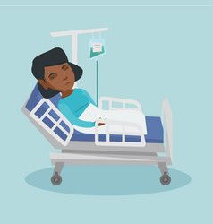 Woman lying in hospital bed with a drop counter vector