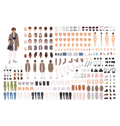 Woman photographer animation kit or creation set vector