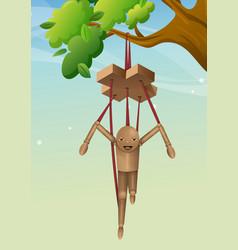 Wooden puppet vector