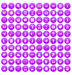 100 donation icons set purple vector
