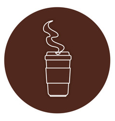 Coffee in plastic cup icon vector