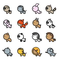 Cute Animals Icon Set 2 vector image