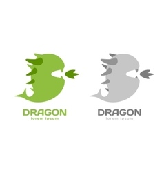 Cute dragon silhouette logo icon vector
