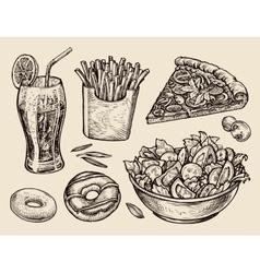 fast food hand drawn soda lemonade fries slice vector image vector image